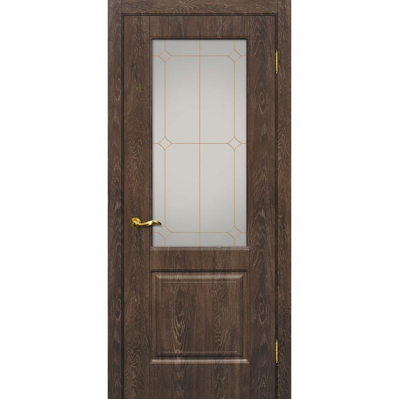 Межкомнатная Дверь МариаМ Версаль-1 Дуб корица стекло контур золото