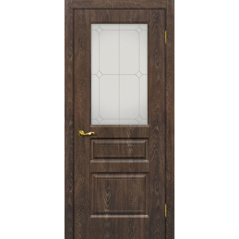Межкомнатная Дверь МариаМ Версаль-2 Дуб корица стекло контур серебро