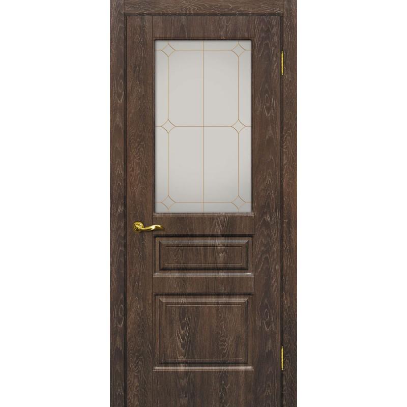 Межкомнатная Дверь МариаМ Версаль-2 Дуб корица стекло контур золото