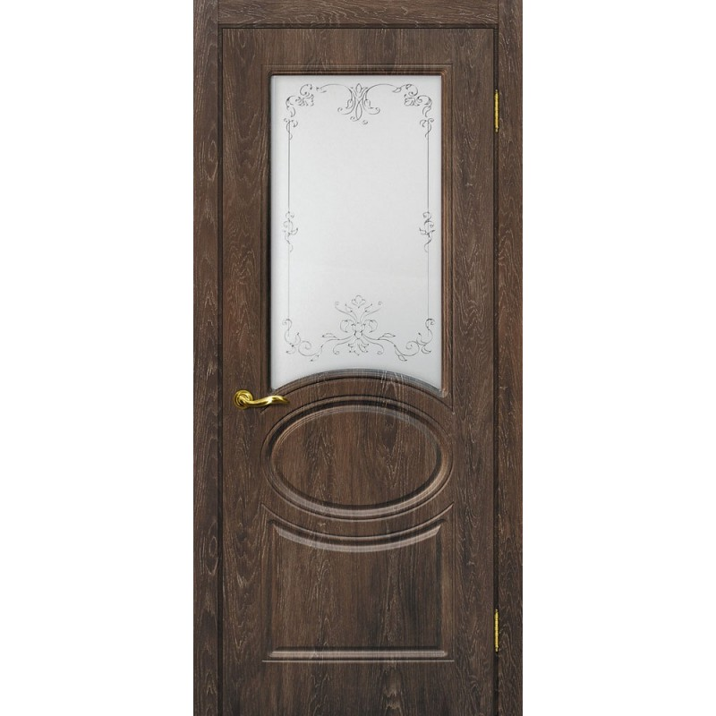Межкомнатная Дверь МариаМ Сиена-1 Дуб корица стекло контур серебро