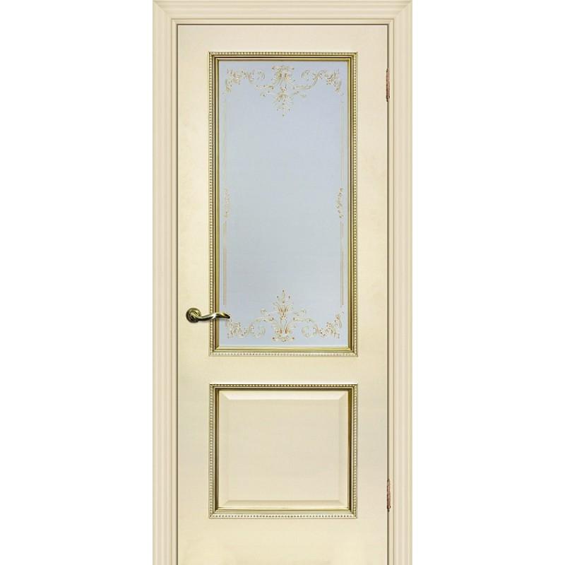 Межкомнатная Дверь МариаМ Мурано-1 Магнолия патина золото стекло контурный полимер золото