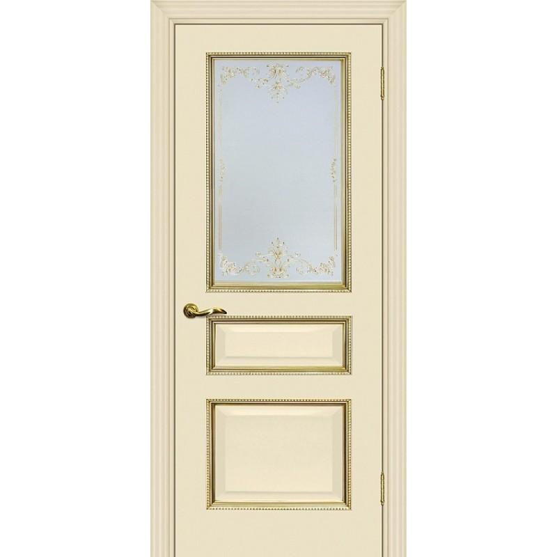 Межкомнатная Дверь МариаМ Мурано-2 Магнолия патина золото стекло контурный полимер золото