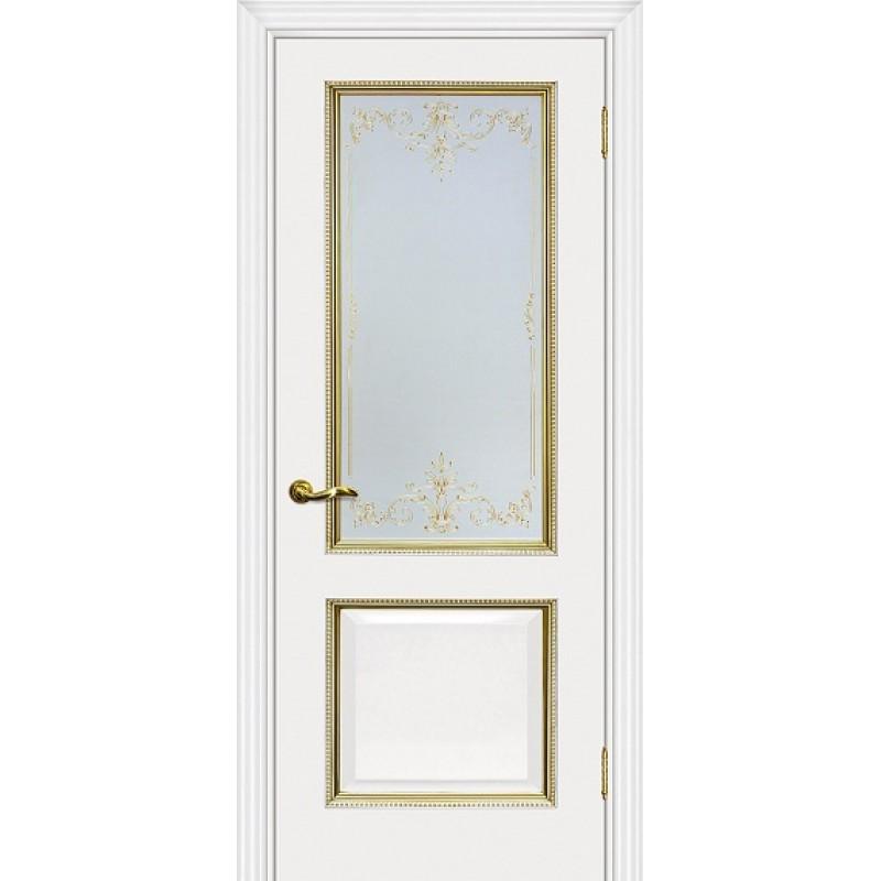 Межкомнатная Дверь МариаМ Мурано-1 Белый патина золото стекло контурный полимер золото