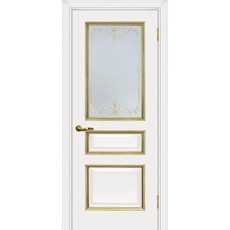Межкомнатная Дверь МариаМ Мурано-2 Белый патина золото стекло контурный полимер золото