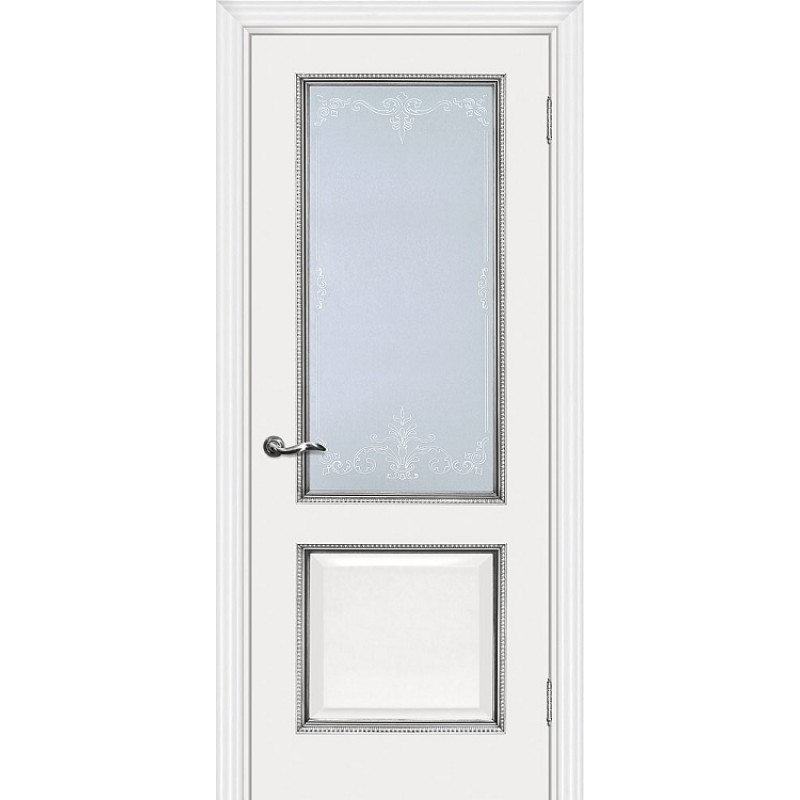 Межкомнатная Дверь МариаМ Мурано-1 Белый патина серебро стекло контурный полимер серебро