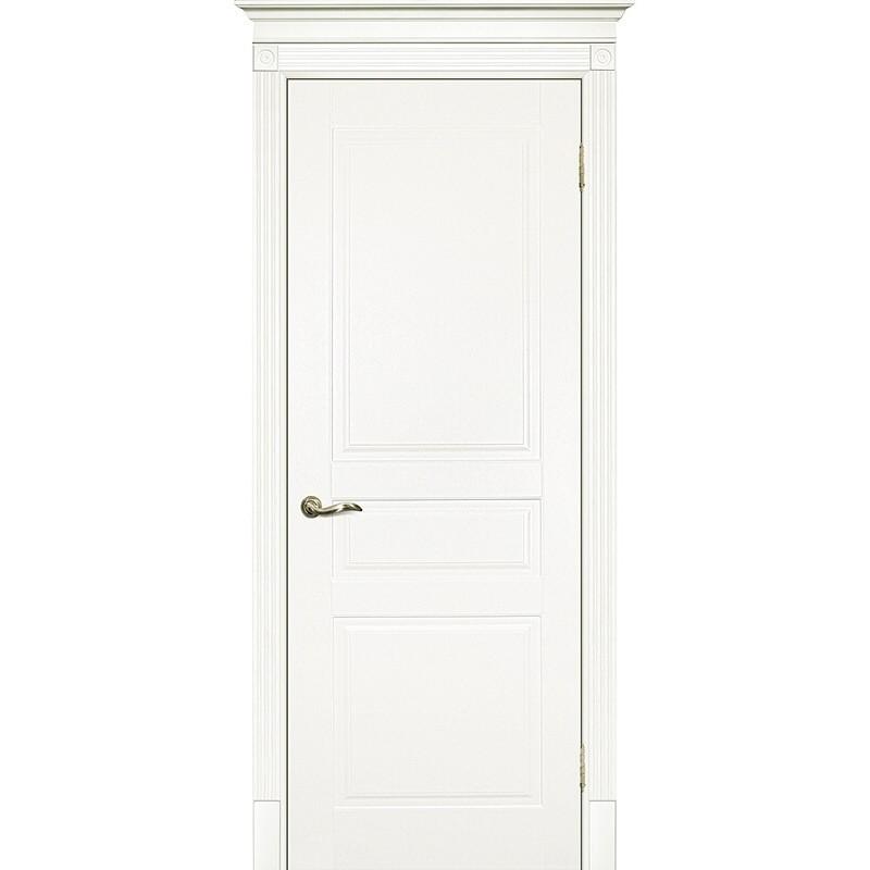 Межкомнатная крашеная дверь Смальта-01 эмаль  молочная RAL 9010 ДГ