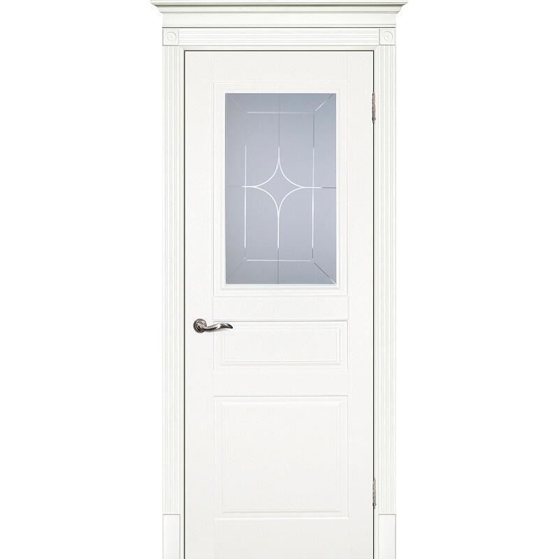 Межкомнатная крашеная дверь Смальта-01 эмаль  молочная RAL 9010 ДО