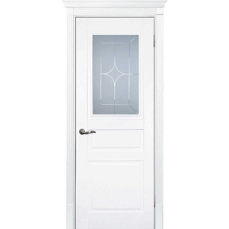 Межкомнатная дверь крашенная дверь Смальта-01 эмаль белая RAL 9003 ДО