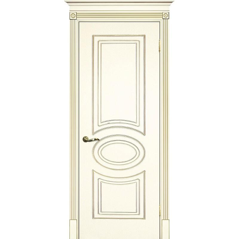 Межкомнатная дверь крашенная дверь Смальта-03 эмаль слоновая кость RAL 1013 патина золото ДГ
