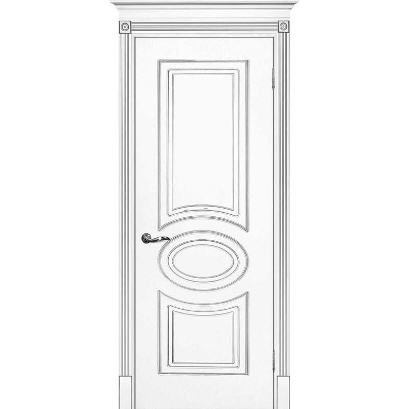 Межкомнатная дверь крашенная дверь Смальта-03 эмаль белая RAL 9003 золотая патина ДГ