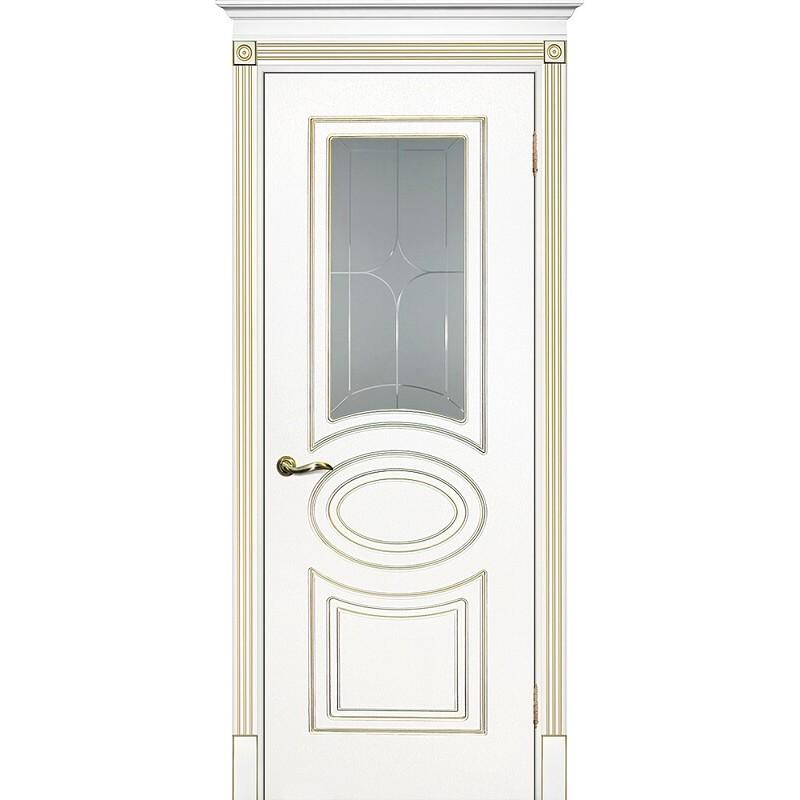 Межкомнатная дверь крашенная дверь Смальта-03 эмаль белая RAL 9003 золотая патина ДО