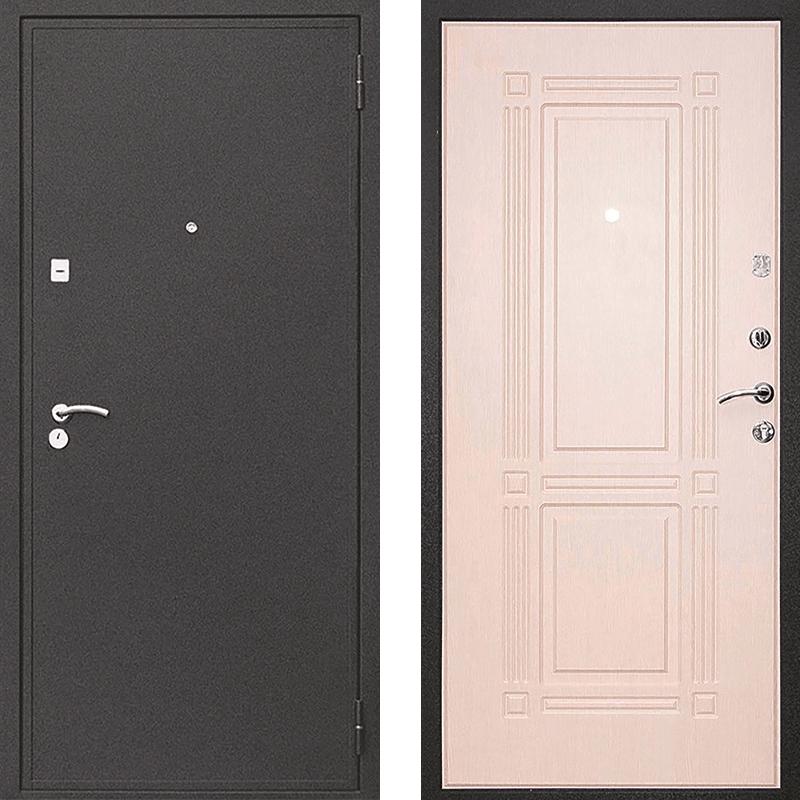 Входная дверь М-1 чёрный крокодил - белёный дуб